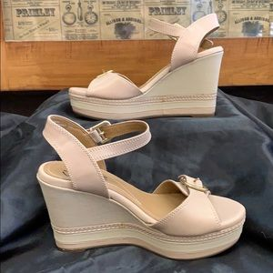 Clarks - Leather Nude Wedges in BOX